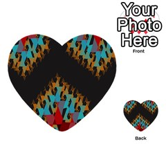 Blue, Gold, And Red Pattern Multi Purpose Cards (heart)