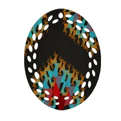 Blue, Gold, And Red Pattern Oval Filigree Ornament (2 Side)  by theunrulyartist