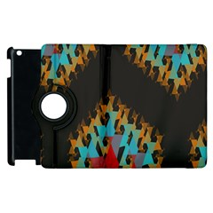 Blue, Gold, And Red Pattern Apple Ipad 2 Flip 360 Case by digitaldivadesigns
