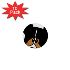 Black Tri Peeping Aussie Dog 1  Mini Buttons (10 pack)  by TailWags