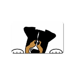 Black Tri Peeping Aussie Dog Magnet (Name Card) by TailWags