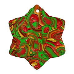 Art Deco Red Green Ornament (snowflake)  by MoreColorsinLife