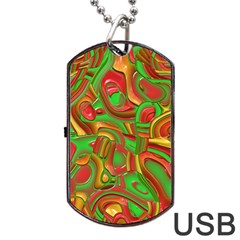 Art Deco Red Green Dog Tag Usb Flash (two Sides)  by MoreColorsinLife