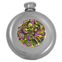 Art Deco Yellow Green Round Hip Flask (5 Oz) by MoreColorsinLife