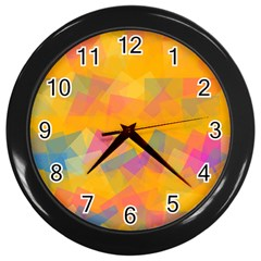Fading Squares Wall Clock (black) by LalyLauraFLM