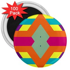 Colorful Rhombus And Stripes 3  Magnet (100 Pack) by LalyLauraFLM
