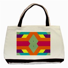 Colorful Rhombus And Stripes Basic Tote Bag by LalyLauraFLM