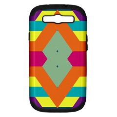 Colorful rhombus and stripes Samsung Galaxy S III Hardshell Case (PC+Silicone) by LalyLauraFLM