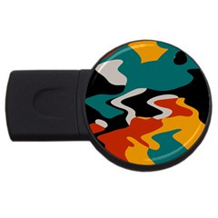 Misc Shapes In Retro Colors Usb Flash Drive Round (4 Gb) by LalyLauraFLM