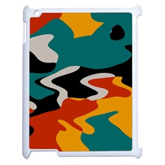 Misc Shapes In Retro Colors Apple Ipad 2 Case (white) by LalyLauraFLM