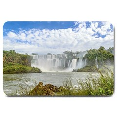 Waterfalls Landscape At Iguazu Park Large Doormat  by dflcprints