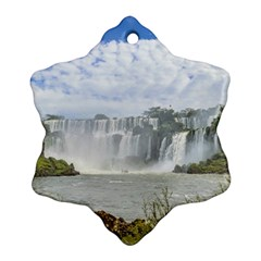 Waterfalls Landscape At Iguazu Park Snowflake Ornament (2 Side)