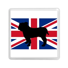Bulldog Silhouette on flag Memory Card Reader (Square)  by TailWags
