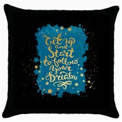 Let Up And Start(gold)3 Black Throw Pillow Case by walala