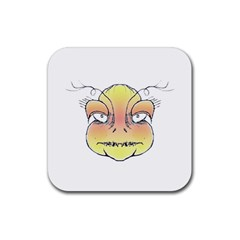 Angry Monster Portrait Drawing Rubber Coaster (Square)  by dflcprints