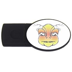 Angry Monster Portrait Drawing Usb Flash Drive Oval (2 Gb)  by dflcprints