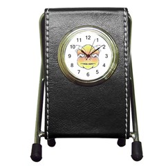 Angry Monster Portrait Drawing Pen Holder Desk Clocks by dflcprints