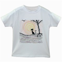 Black Cat On Halloween In Creepy Forest  Kids White T Shirts by tiastees