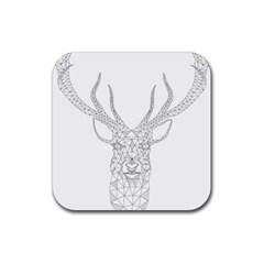 Modern Geometric Christmas Deer Illustration Rubber Square Coaster (4 Pack)  by Dushan