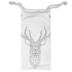 Modern Geometric Christmas Deer Illustration Jewelry Bags by Dushan