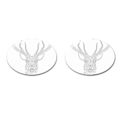 Modern Geometric Christmas Deer Illustration Cufflinks (oval) by Dushan