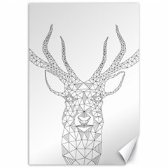Modern Geometric Christmas Deer Illustration Canvas 12  X 18   by Dushan