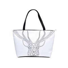 Modern Geometric Christmas Deer Illustration Shoulder Handbags by Dushan