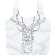 Modern Geometric Christmas Deer Illustration Full Print Recycle Bags (l)  by Dushan