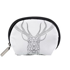 Modern Geometric Christmas Deer Illustration Accessory Pouches (small)  by Dushan