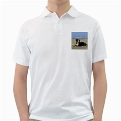 Bernese Mountain Dog Laying On Beach Golf Shirts by TailWags