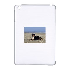 Bernese Mountain Dog Laying On Beach Apple iPad Mini Hardshell Case (Compatible with Smart Cover) by TailWags