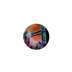 London Tower Bridge, Bokeh Orange 1  Mini Buttons by MoreColorsinLife