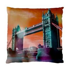 London Tower Bridge, Bokeh Orange Standard Cushion Case (one Side)  by MoreColorsinLife
