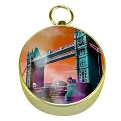 London Tower Bridge, Bokeh Orange Gold Compasses by MoreColorsinLife