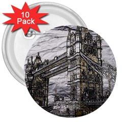 Metal Art London Tower Bridge 3  Buttons (10 pack)  by MoreColorsinLife