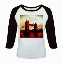 London Tower Bridge Red Kids Baseball Jerseys by MoreColorsinLife