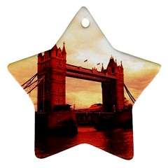 London Tower Bridge Red Star Ornament (two Sides)  by MoreColorsinLife