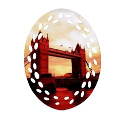 London Tower Bridge Red Oval Filigree Ornament (2 Side)  by MoreColorsinLife