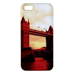 London Tower Bridge Red iPhone 5S Premium Hardshell Case by MoreColorsinLife