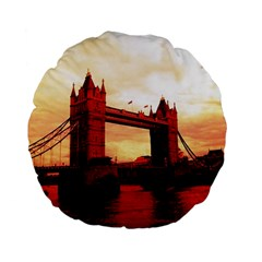 London Tower Bridge Red Standard 15  Premium Flano Round Cushions by MoreColorsinLife