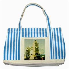 Watercolors, London Tower Bridge Striped Blue Tote Bag  by MoreColorsinLife