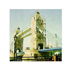 Watercolors, London Tower Bridge Small Satin Scarf (square)  by MoreColorsinLife