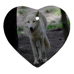 White Wolf Ornament (heart)  by MoreColorsinLife