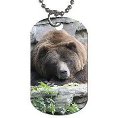 Tired Bear Dog Tag (two Sides) by MoreColorsinLife