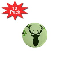 Modern Geometric Black And Green Christmas Deer 1  Mini Magnet (10 Pack)  by Dushan