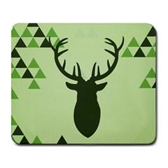 Modern Geometric Black And Green Christmas Deer Large Mousepads by Dushan