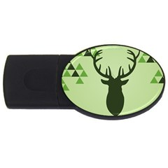 Modern Geometric Black And Green Christmas Deer Usb Flash Drive Oval (2 Gb)  by Dushan