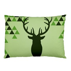 Modern Geometric Black And Green Christmas Deer Pillow Cases by Dushan