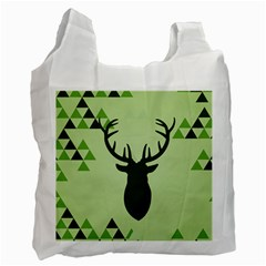 Modern Geometric Black And Green Christmas Deer Recycle Bag (two Side)  by Dushan