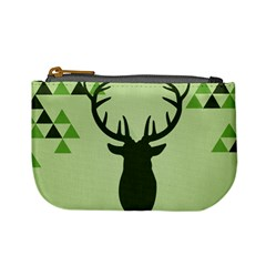 Modern Geometric Black And Green Christmas Deer Mini Coin Purses